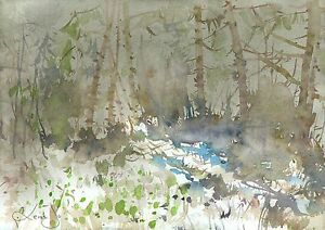 pittura-di-paesaggio-watercolor-Picture-30x21-cm0089-IT-Landschaft-Aquarell
