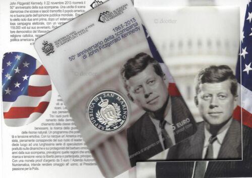"SAN MARINO 2013 "" 5 EURO ""  SILVER STERLING PROOF John F. Kennedy"