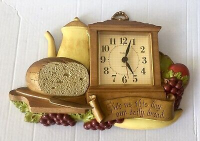 Burwood Vintage Plastic Hanging Battery Run Clock Give Us Our Daily Bread