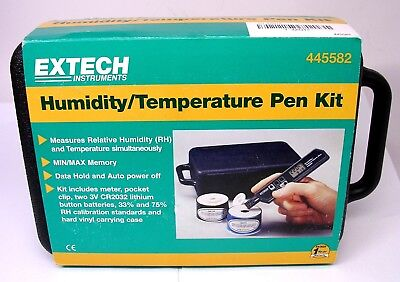 - Extech 445582 Humidity and Temperature Pen Sized Meter w/ Calib Standards & Case