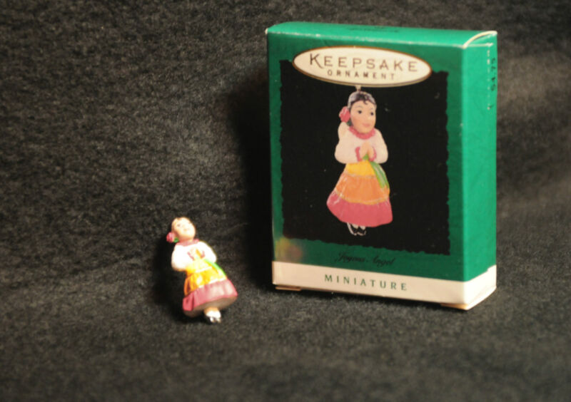 1996 Hallmark miniature Joyous Angel 'Feliz Navidad' MINT in box, colorful dress