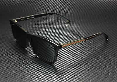 GUCCI GG0381Sa 001 Rectangular Black Shiny Crystal Grey 56 mm Men's Sunglasses