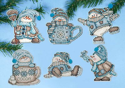 Cross Stitch Kit ~ Design Works 6  Cocoa Snowman Christmas Ornaments PC #DW1689 - Cross Stitch Ornaments