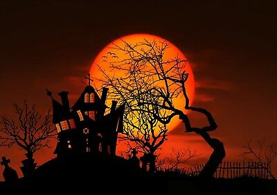 Halloween Haunted House & Orange Moon -  Art Picture Poster Photo Print 4FAL (Orange Moon Halloween)