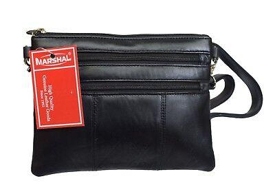 Ladies Black Genuine Leather Small Crossbody & Shoulder Bag W/ 4 Zipper Pockets