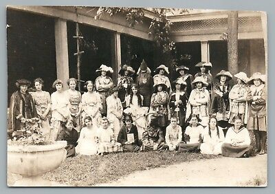 Girls Dressed in Costumes RPPC Theater Antique Photo—Annotated Names Genealogy