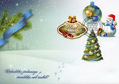 Estonia 2017 FDC Christmas Trees Snowman 4v S/A Set Cover Seasonal Stamps
