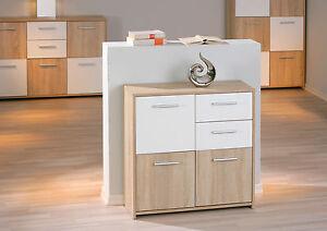 Commode buffet bahut petit meuble de rangement 3 portes 2 tiroirs ch ne blanc - Petite meuble de rangement ...