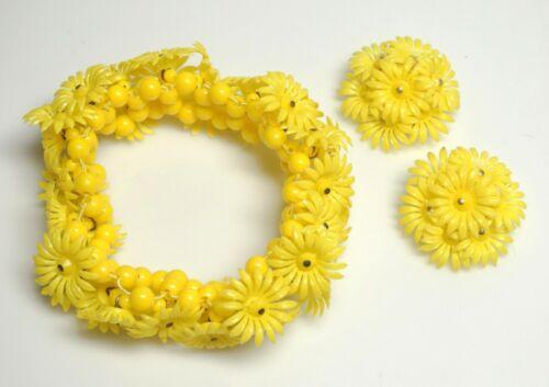 Vintage Bright Yellow Celluloid Flower/Bead Stretch Bracelet & Clip Earrings