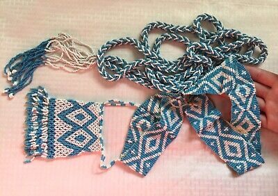 1930s Art Deco Style Jewelry Antique 1930's Vtg Native A Blue White Ornate Glass Seed Bead Necklace Belt Lot $199.00 AT vintagedancer.com