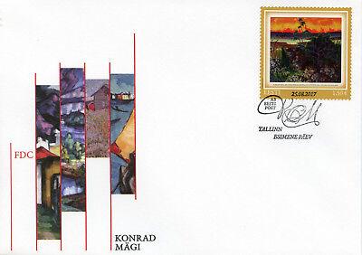 Estonia 2017 FDC Konrad Magi Landscape with Red Cloud 1v Set Cover Art Stamps