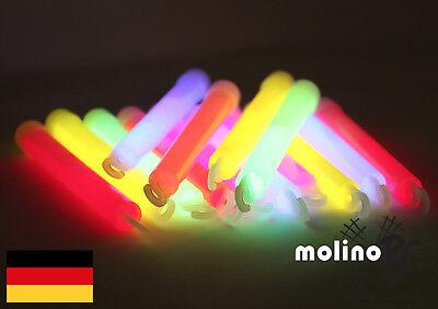 Licht Bulk (12x Power MEGA Knicklichter 150x15 mm FETT + HELL Leuchtstäbe, 6 Farben Öse BULK)