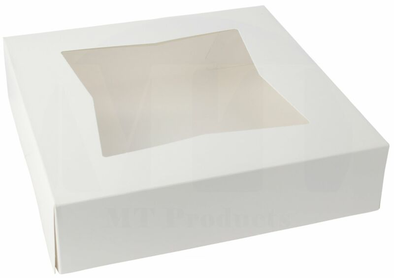 """Bakery Pie Box 9"""" x 9"""" x 2 1/2"""" White Paperboard with a Window  - 25 Pieces"""