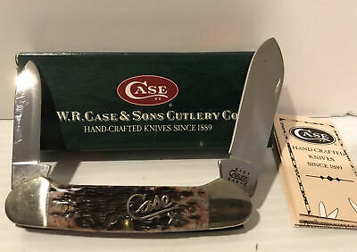CASE XX USA,2001, 62131 CANOE KNIFE, SILVER SCRIPT & CRANBERRY BONE MINT