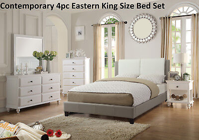 Eastern King Contemporary Bed 4pc Bedroom Set Dresser Mirror Nightstand -