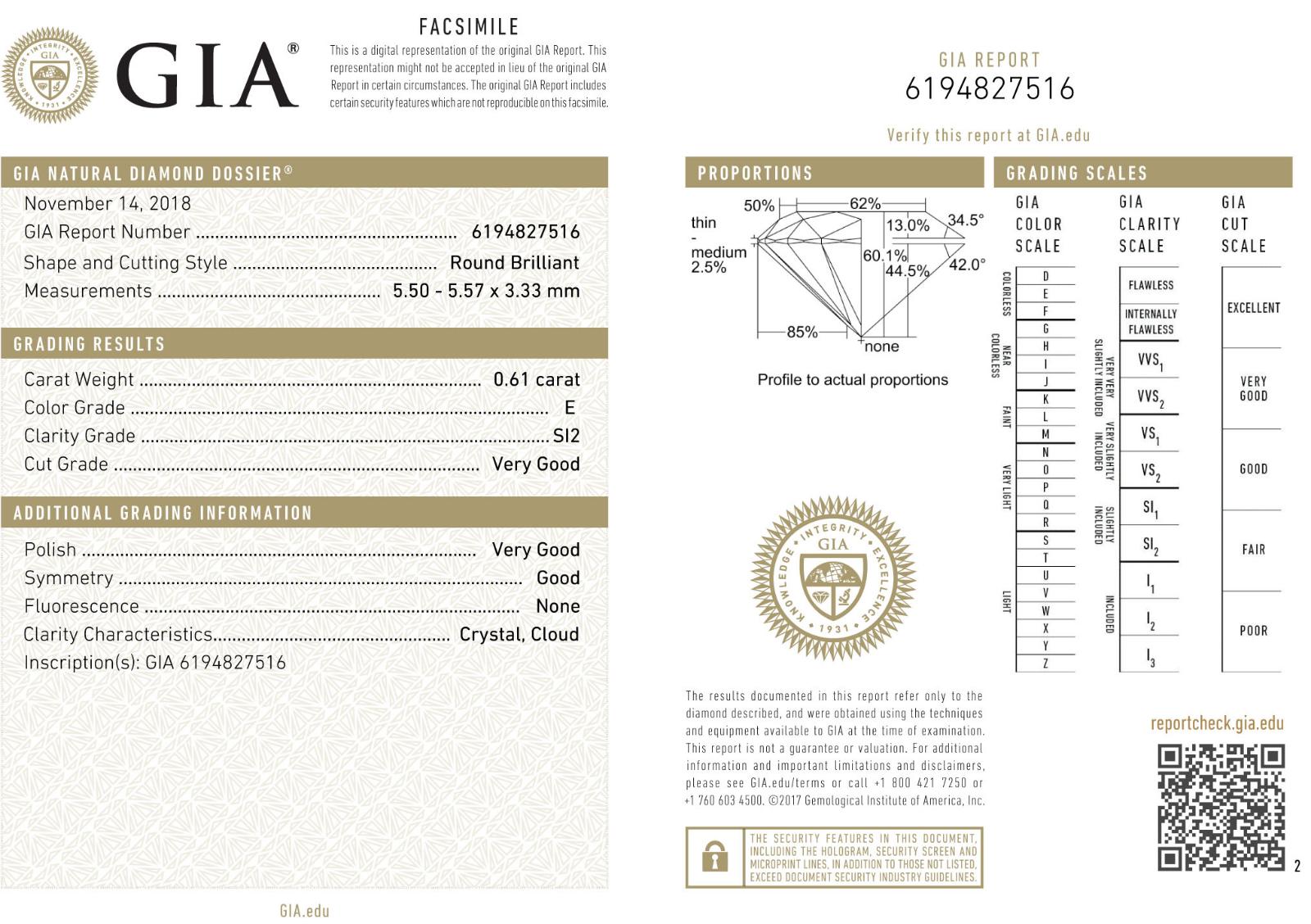 1.80 ct 3 Stone Round Diamond GIA E-F SI2 clarity Bezel Set Ring 14k White Gold 2