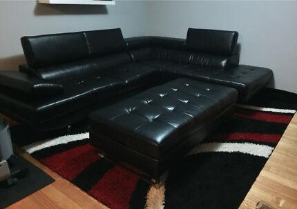 Modular  Sofa set with chaise, recliner headrests + ottoman