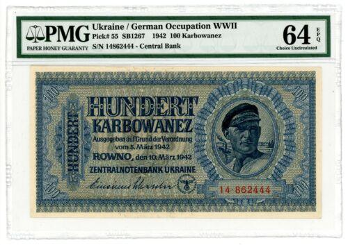 Ukraine ... P-55 ... 100 Karbowanez ... 1942 ... Choice *UNC* PMG 64 EPQ