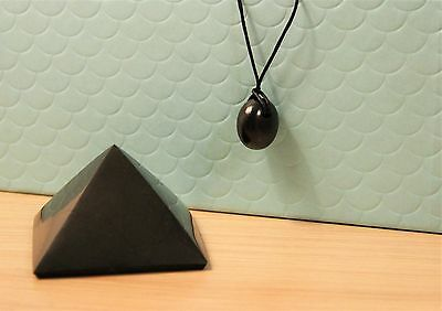 Shungite Pyramid and Pendant EMF protection Set for Personal and Home S003