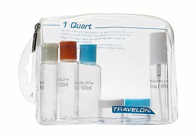 Travelon 1 Quart Zip Top Bag with Bottles Clear One Size Free Shipping 1 Quart Zip Top Bag