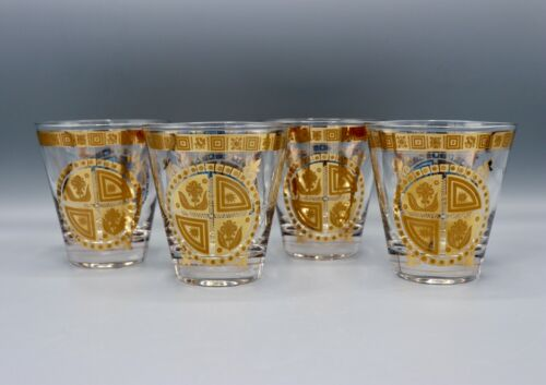 Four Culver Coronet Flared Double Old Fashioned Rocks Glasses 22k Gold MINT