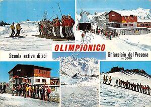 Cartolina-Postcard-Ghiacciaio-Presena-Olimpionico-vedutine-Sciatori