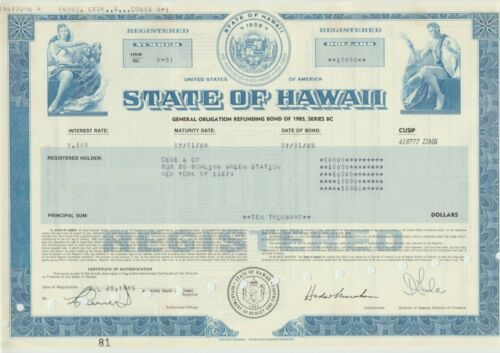 1985 State of Hawaii Bond Stock Certificate