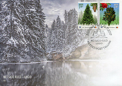 Estonia 2017 FDC Forest Trees Norway Spruce Rowan JIS Romania 2v Cover Stamps