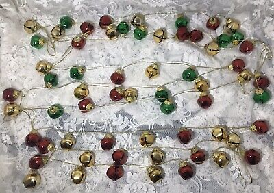 3 Strands Jingle Bell Garland Gold Cord Red/Gold Red/Green -