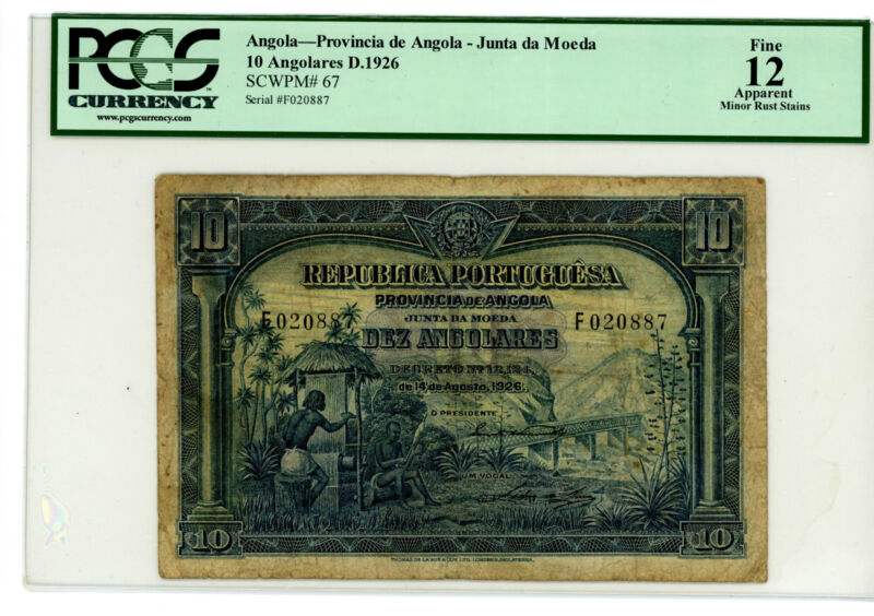 Angola … P-67 … 10 Angolares … 1926 … *F+*