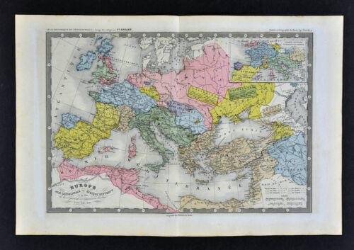 1860 Ansart Map - Barbarian Invasion 506 AD - Goths Visogoths Ostrogoths Vandals
