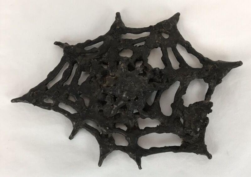 Handmade Abstract Bronze Or Metal Spider, Web & Bug Sculpture