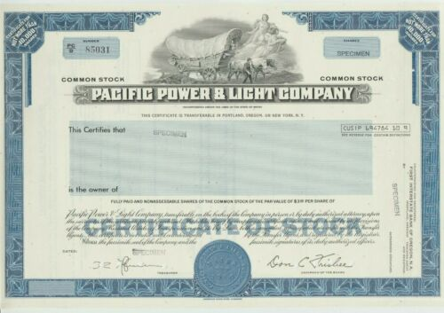 Pacific Power & Light Company Specimen Stock Certificate