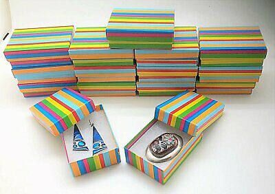 15 Rainbow Stripes Jewelry Gift Boxes Cotton Fill 3-116x2-18x1 Earring Pin Box