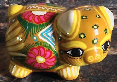 VINTAGE MEXICO FOLK ART RED CLAY POTTERY PIG PIGGY BANK