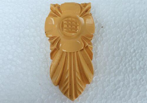Vintage 1930s Carved Yellow Butterscotch Bakelite Scarf Dress Fur Clip