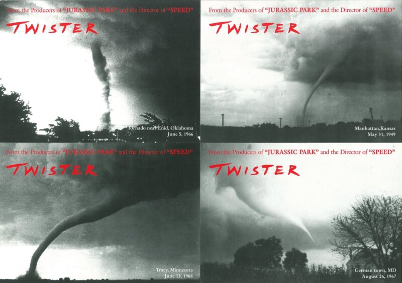 Twister cards - promotional postcards (set of 4) - Bill Paxton, Helen Hunt