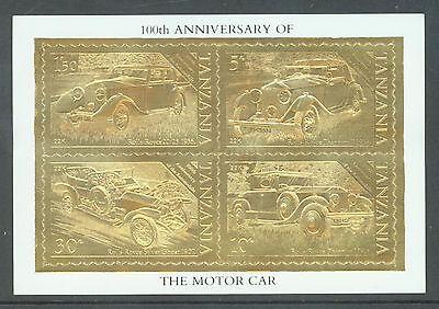 Tanzania 1986 Motoring Centenary as sg.456-9 but on 22k gold foil. MNH sheet