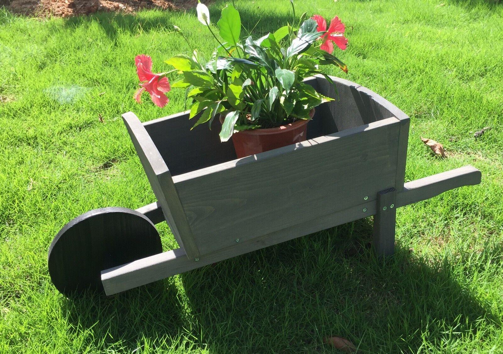 Seny Cute Wheelbarrow Style Garden Planter 100% Wood Garden Bed Box