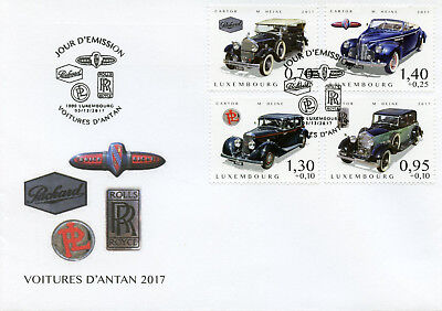 Luxembourg 2017 FDC Cars of Yesteryear Pt 4 Rolls Royce Buick 4v Cover Stamps