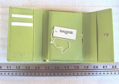 .Lancaster Green Leather Purse Wallet Made in Italy .12ctw Diamonds