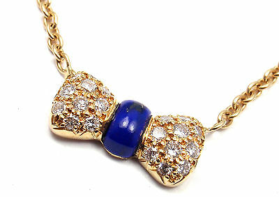 Authentic! Van Cleef & Arpels 18k Yellow Gold Diamond Lapis Bow Pendant Necklace