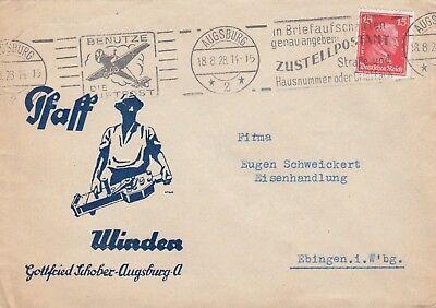 AUGSBURG, Briefumschlag 1928, Gottfried Schober Winden