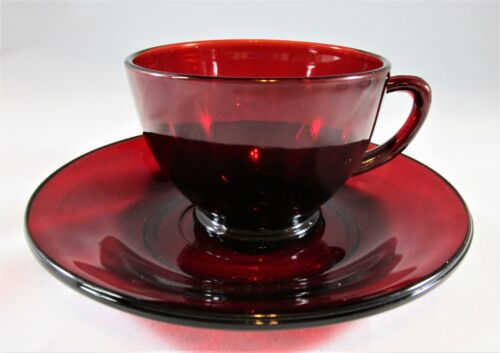Vtg Ruby RED Depression Glass FOOTED COFFEE / TEA CUPS & SAUCERS Anchor Hocking