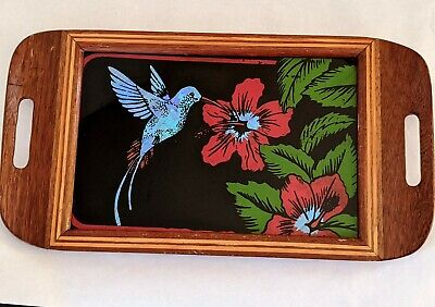 Reverse Glass Painting Butterfly Wings Hummingbird Hibiscus Wood Inlay Tray