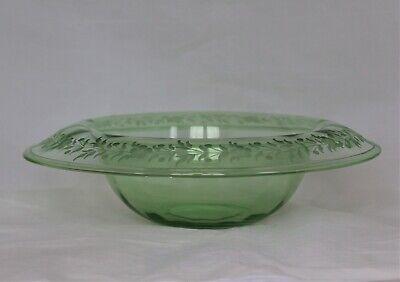ANTIQUE H.P. SINCLAIRE GREEN GLASS ENGRAVED CENTERPIECE BOWL 11
