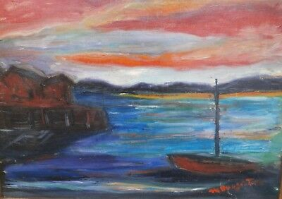 Boat & Dock under an Orange Sky Expressionist Painting-1960s-Maxim Bugzester