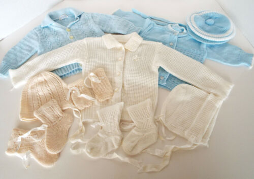 Vintage Knit Baby Toddler Cardigans Hats Socks Mittens Sets 13 Piece Lot Knitown