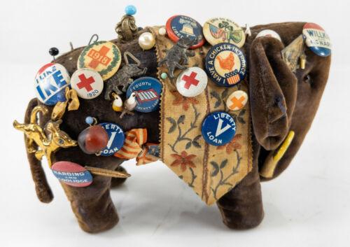 Antique Political Pin Memorabilia Republican Steiff Elephant Folk Americana