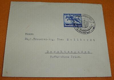 3.Reich Brief Mi. 746 Pferdesport 1940 Hamburg - Hofbrauhaus Kriss Berchtesgaden